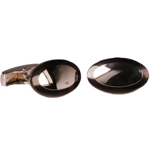 Ferrecci Mens Silvertone Elliptical Black Cufflinks