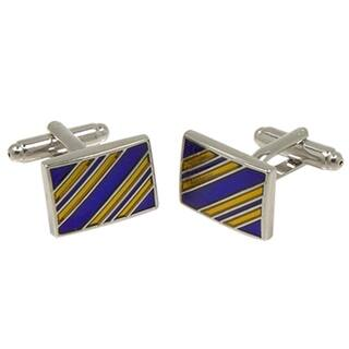 Ferrecci Mens Goldtone Square Gold/Blue Stripe Cufflinks