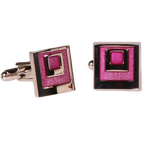 Ferrecci Mens Silvertone Square Pink Geometric Cufflinks