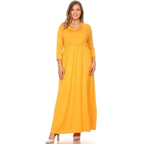 Women's Casual Solid Loose Fit Modest Wear Plus Size Pleated Long Maxi Dress