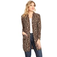 Women's Casual Pattern Long Body Duster Cardigan with Open Front and Pockets