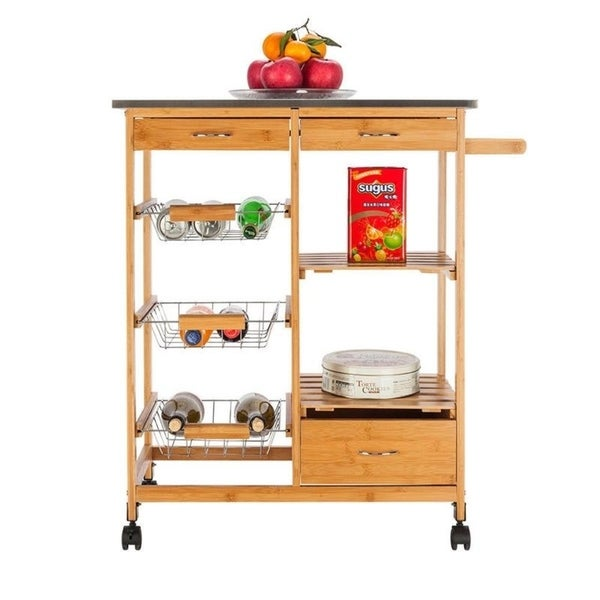 shop island wood storage trolley rolling kitchen cart w drawers wine racks free shipping today. Black Bedroom Furniture Sets. Home Design Ideas