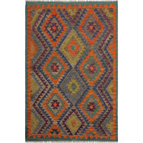 Kilim Arya Juliette Grey/Blue Hand-Woven Wool Rug (4'3 x 6'0) - 4 ft. 3 in. x 6 ft. 0 in.