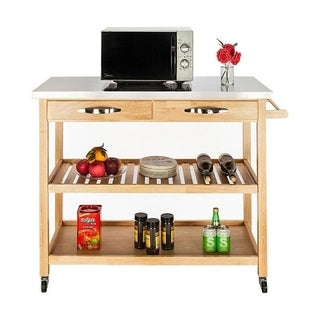 2 Tier Rolling Wooden Stainless Top Storage Trolley Island Kitchen Cart