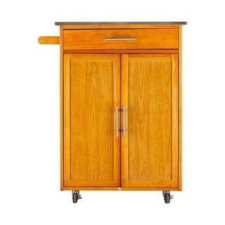 Modern Rolling Wood Island Storage Cabinet Kitchen Cart w/ Wine Racks