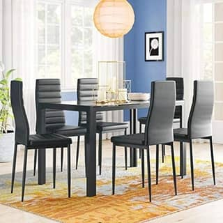 7 Piece Kitchen Room Furni Glass Top Dining Table Set w/6 Leather Chairs