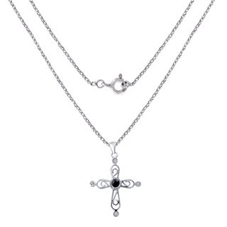0.50 Carat Sapphire & CZ Sterling Silver Designer Pendant By Orchid Jewelry