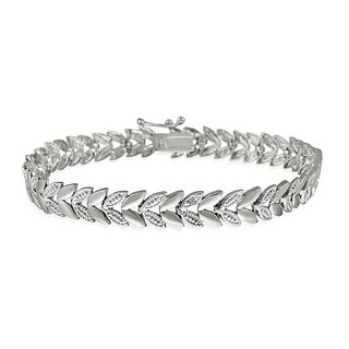 DB Designs Sterling Silver Diamond Accent Leaf Bracelet (3 options available)