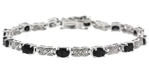 Glitzy Rocks Sterling Silver Diamond Sapphire X and O Bracelet