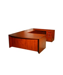 Boss Cherry Bow Front Workstation Desk