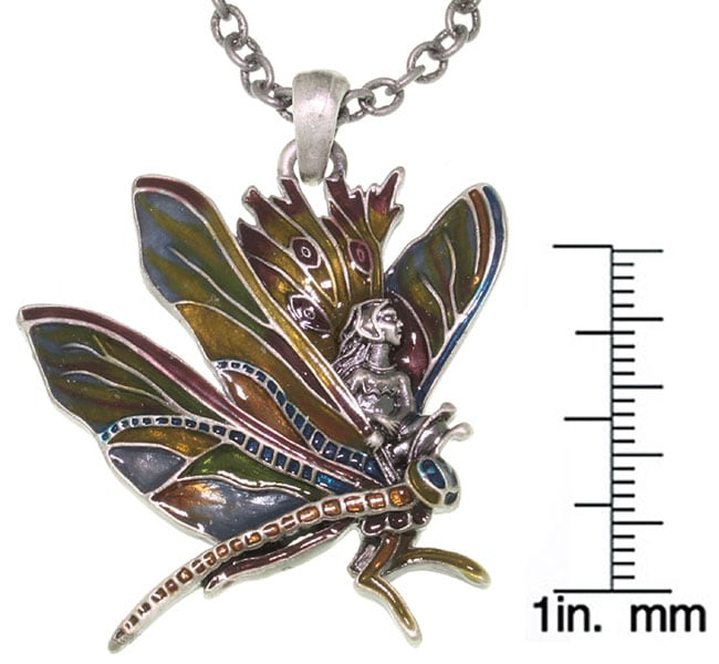 Carolina Glamour Collection Dragonfly and Fairy Pewter Pendant