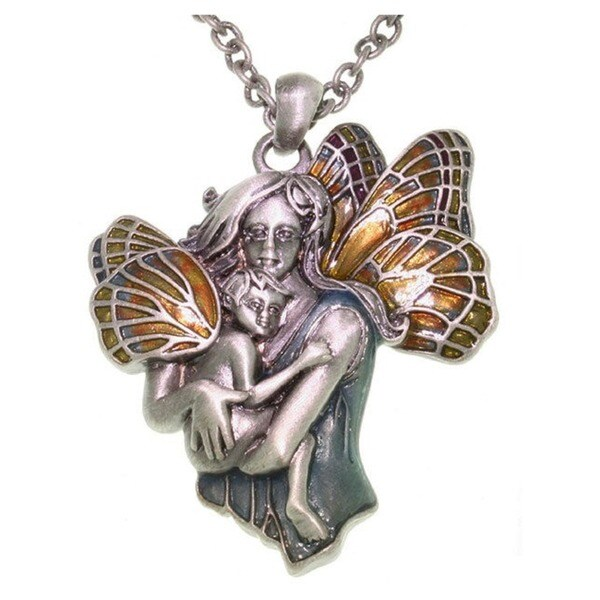 Carolina Glamour Collection Pewter and Enamel Pendant Necklace of Fairy Mom and Baby