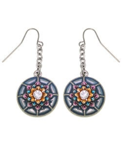 Carolina Glamour Collection Dream Flower Round Pewter Earrings