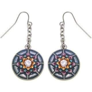 Dream Flower Round Pewter Earrings