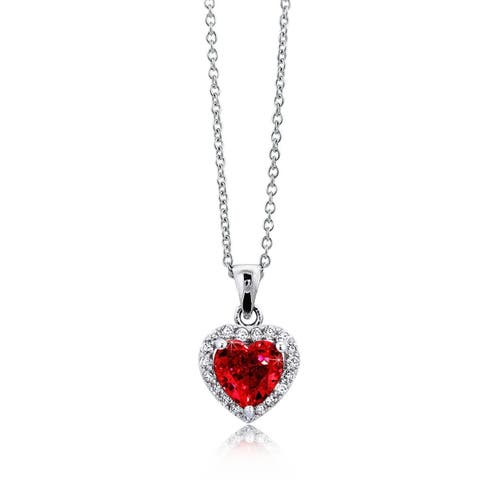 4.2ctw Red Heart CZ Solitaire Halo Pendant Necklace Gift, 16 inch