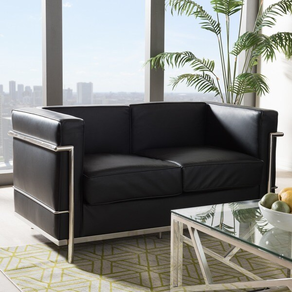 Mason Black Leather Loveseat