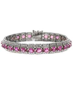 Glitzy Rocks Diamond Lab-created Pink Sapphire Bracelet