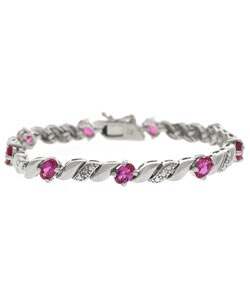 Glitzy Rocks Sterling Silver Created Pink Sapphire Bracelet