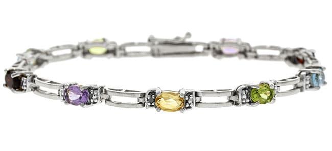 Glitzy Rocks Sterling Silver Multi Gemstone Bracelet