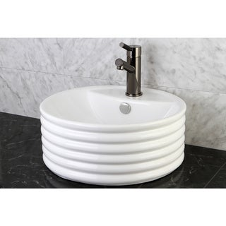 Vitreous China White Single-Hole Vessel Lavatory