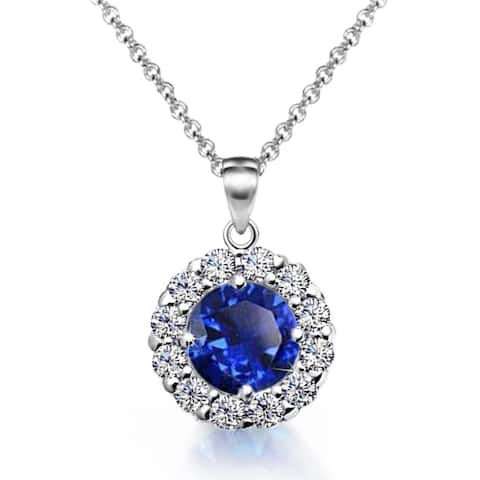 """2.95ctw Blue CZ Floral Halo Pendant Necklace in Rhodium Plating, 17"""""""