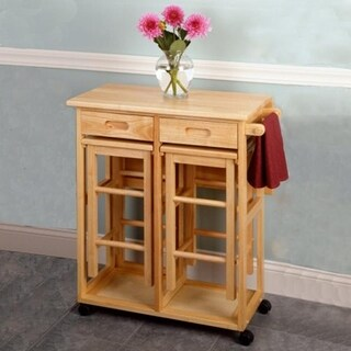 3-Piece Foldable Wooden Rolling Wooden Kitchen Cart w/Stool 3 Colors