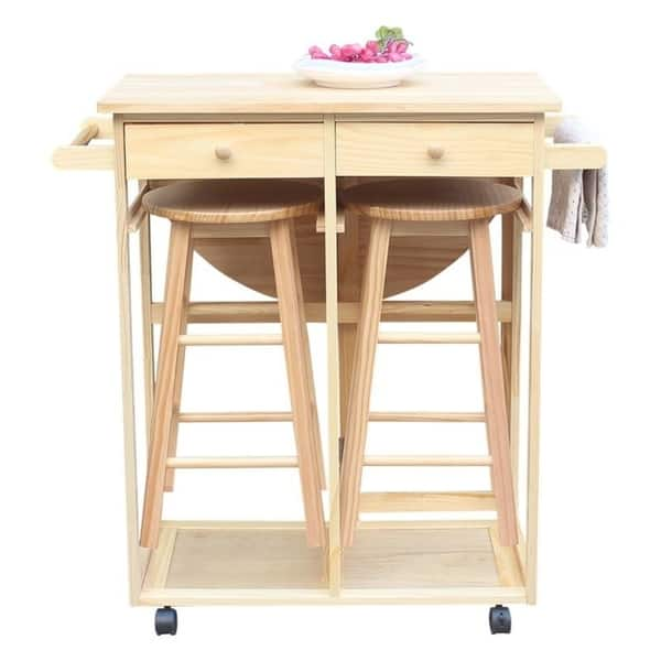 Introductions This Is A Foldable Dining Cart With Two Round Bar Stools Made Of Sy Solid Wood Which Environmentally