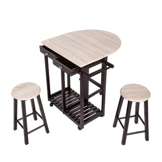 Kinbor 3-Piece Rolling Kitchen Island Portable Storage Trolley Cart Dining Table Set w/ 2 Stools
