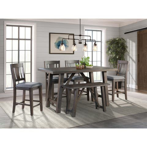 Picket House Furnishings Carter Counter Height 6PC Dining Set-Table, Four Chairs & Bench