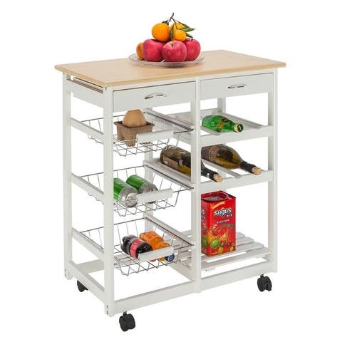 Carson Carrington Dalur Wood & Steel Rolling Kitchen Cart