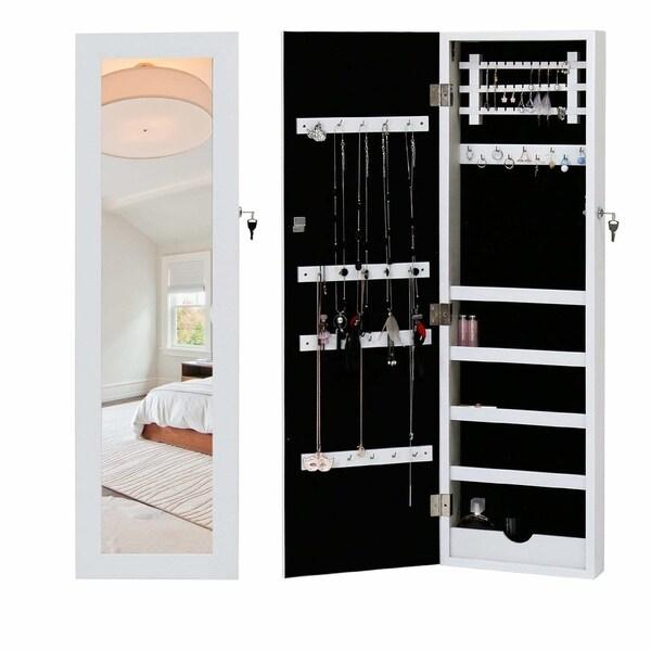 Shop Kinbor Lockable Jewelry Armoire Cabinet Wall Mount