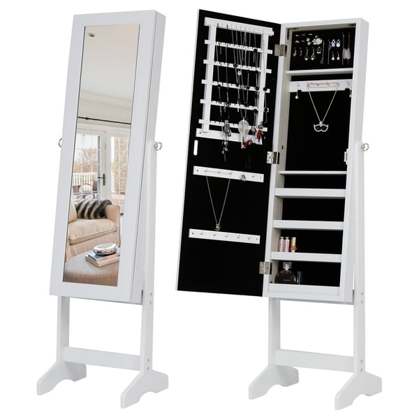 Shop Kinbor Lockable Mirrored Jewelry Cabinet Armoire Box