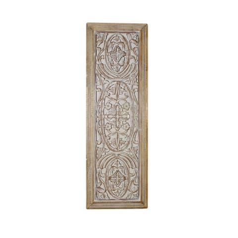 Rectangular Mango Wood Wall Panel Hand Crafted With Intricate Carving, White and Brown
