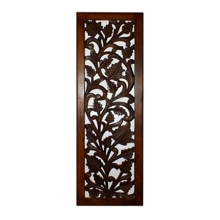 Mango Wood Wall Panel Hand Crafted with Leaves and Scroll Work Motif, Brown