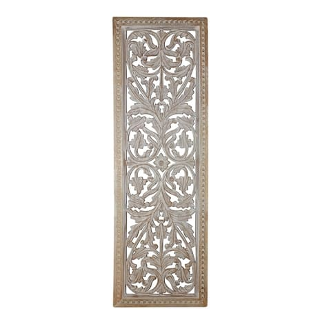 Attractive Mango Wood Wall Panel Hand Crafted With Intricate Details, White