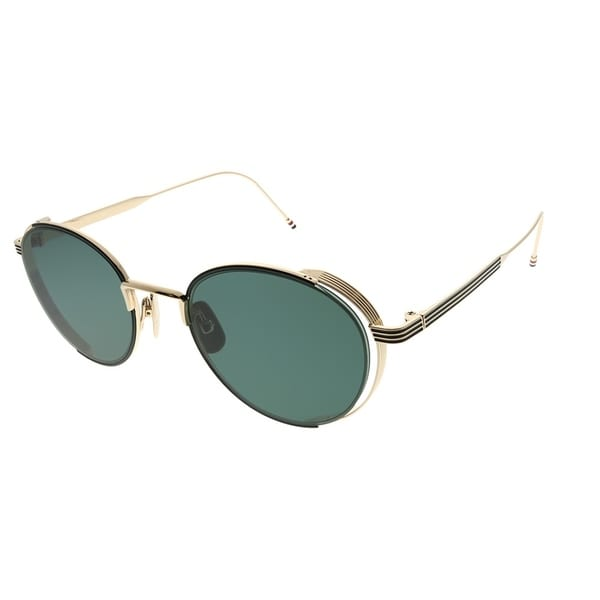 6759a2f20a3 Shop Thom Browne Round TB-106 A-BLK-GLD-50 Unisex Black Enamel 12k Gold  Frame Dark Grey AR Lens Sunglasses - Free Shipping Today - Overstock -  25893102