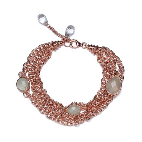 Collette Z Sterling Silver with Rose Gold Plated Aqua Chalcedony Round and Oval Cubic Zirconia Multiple Chain Bracelet