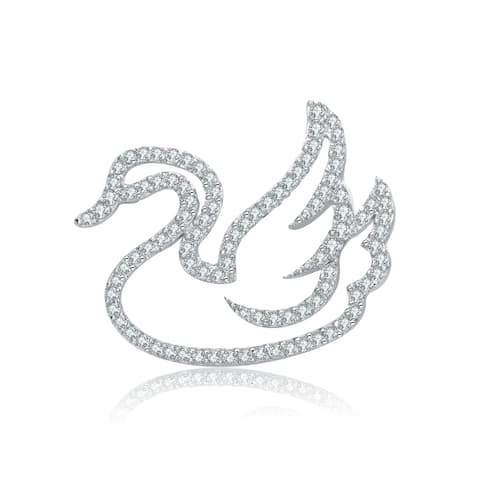 Collette Z Sterling Silver with Rhodium Plated Clear Round Cubic Zirconia Swan Pin