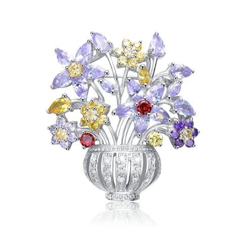 Collette Z Sterling Silver with Rhodium Plated Multi Colored Pear and Round Cubic Zirconia Flower Basket Pin