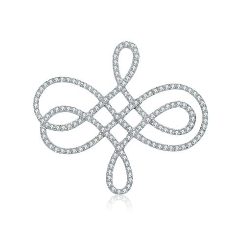 Collette Z Sterling Silver with Rhodium Plated Clear Round Cubic Zirconia Swirl Pin