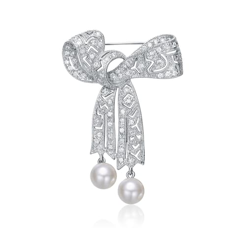 Collette Z Sterling Silver with Rhodium Plated White Round Pearl with Clear Round Cubic Zirconia Bow Pin