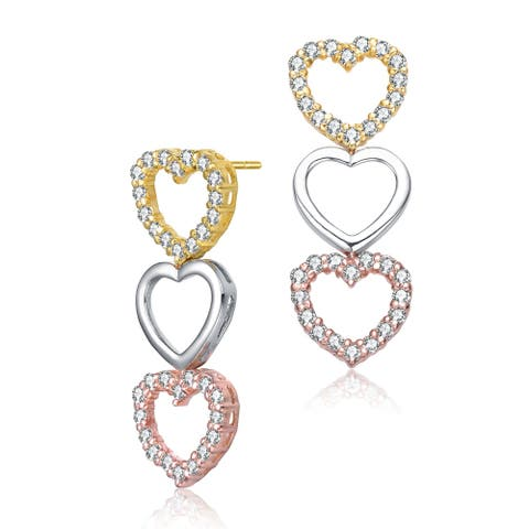 Collette Z Sterling Silver with Rhodium Gold Rose Gold Plated Clear Round Cubic Zirconia Heart Drop Earrings