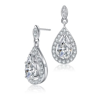 Link to Collette Z Sterling Silver with Rhodium Plated Clear Pear with Round Cubic Zirconia Halo Drop Earrings Similar Items in Earrings