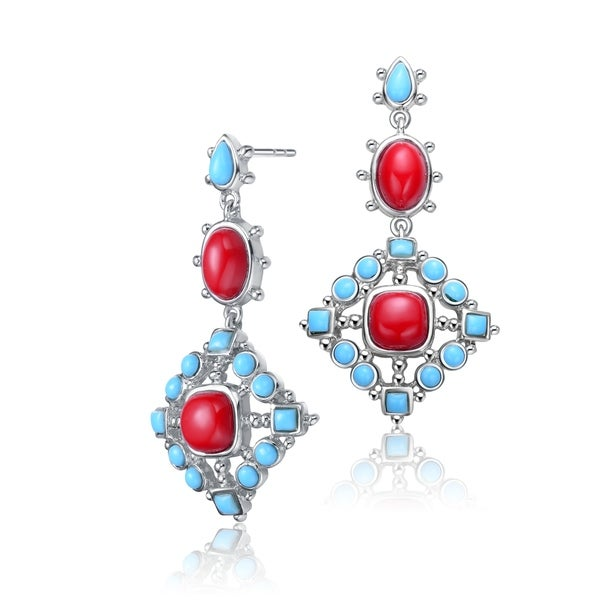 Collette Z Sterling Silver with Rhodium Plated Red Cushion Coral with Blue Round Turquoise Square Drop Earrings. Opens flyout.