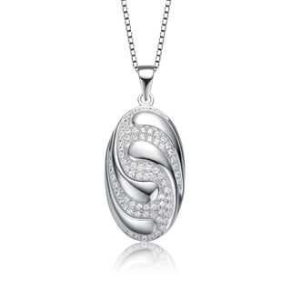 Collette Z Sterling Silver With Rhodium Plated Clear Round Cubic Zirconia Swirl Oval Pendant Necklace