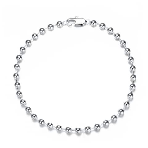 Collette Z Rhodium Plated 3MM Bead Ball Chain Necklace