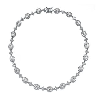 Collette Z Sterling Silver With Rhodium Plated Clear Oval With Round Cubic Zirconia Halo Necklace