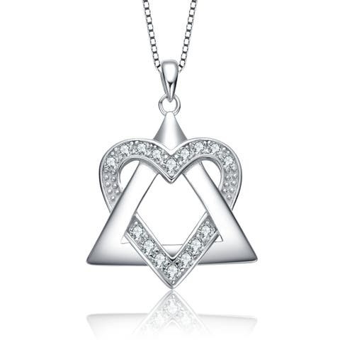 Collette Z Sterling Silver with Rhodium Plated Clear Round Cubic Zirconia Heart and Triangle Pendant Necklace