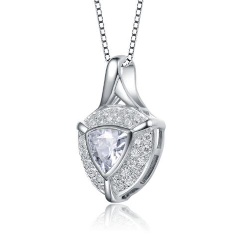 Collette Z Sterling Silver with Rhodium Plated Clear Trillion with Round Cubic Zirconia Pendant Necklace