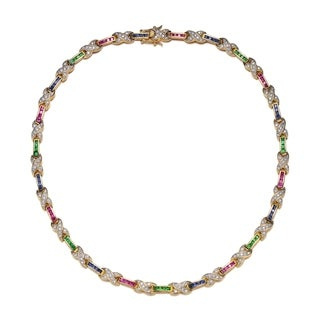 Collette Z Sterling Silver With Gold Plated Blue Pink And Green Princess With Clear Round Cubic Zirconia X Tennis Necklace